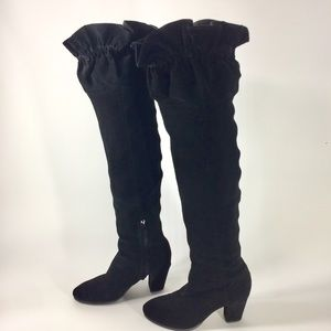 Libby Edelman black suede over the knee boots